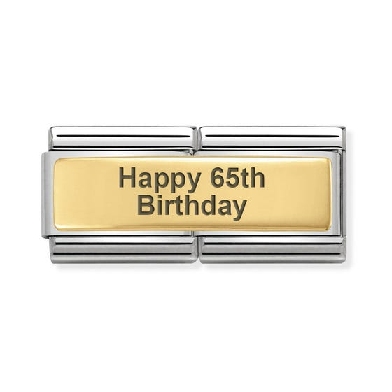 Classic Gold Happy 65th Birthday Double Charm