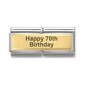 Classic Gold Happy 70th Birthday Double Charm
