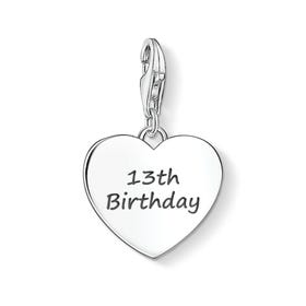 13th Birthday Silver Heart Charm