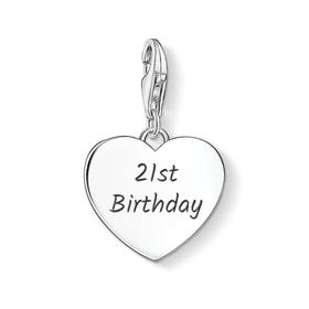 21st Birthday Silver Heart Charm