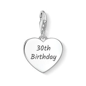 30th Birthday Silver Heart Charm