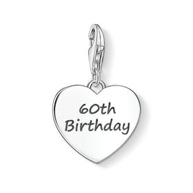 60th Birthday Silver Heart Charm