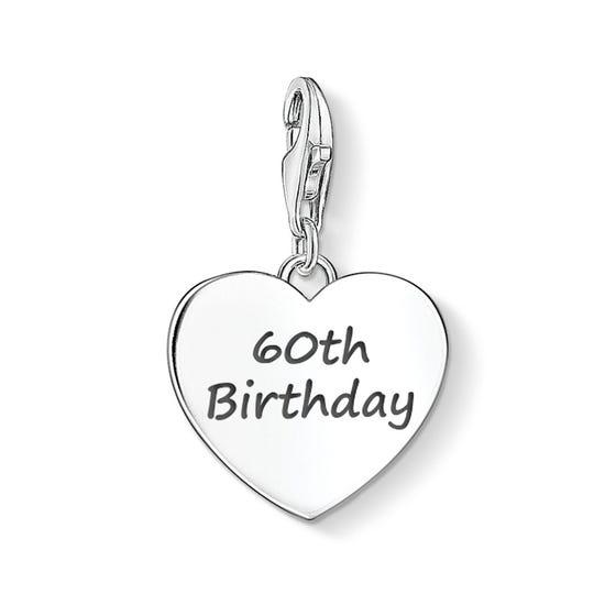 60th Birthday Silver Heart Charm