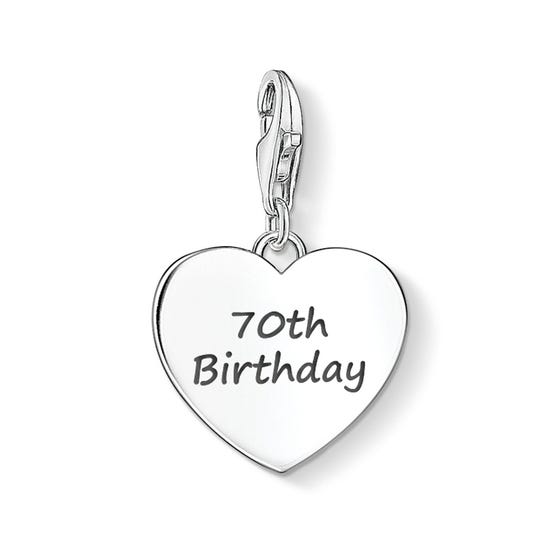 70th Birthday Silver Heart Charm