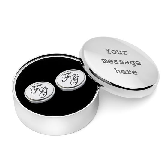 Engravable Round Jewellery Box & Cufflinks Set