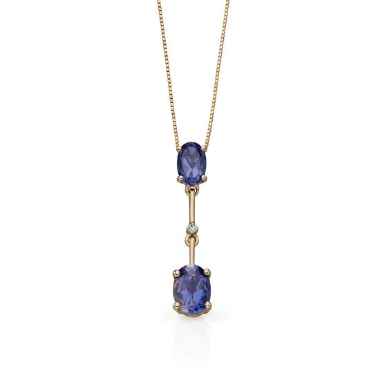 9ct Gold Iolite & Diamond Stick Drop Necklace
