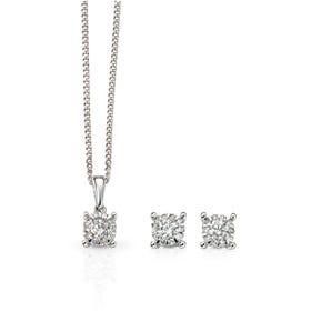 9ct White Gold Diamond Cluster Jewellery Set