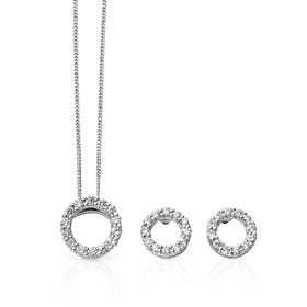 9ct White Gold Diamond Open Circle Jewellery Set