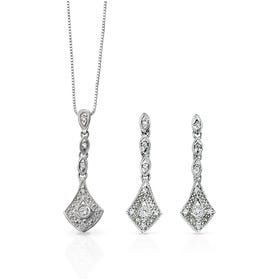 9ct White Gold Diamond Vintage Drop Jewellery Set