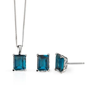 9ct White Gold Blue Topaz Jewellery Set