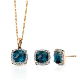 9ct Gold Diamond & Blue Topaz Checkerboard Jewellery Set