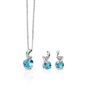 9ct White Gold Blue Topaz & Diamond Jewellery Set