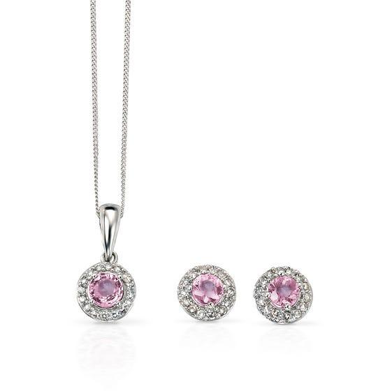 9ct White Gold Pink Sapphire & Diamond Cluster Jewellery Set