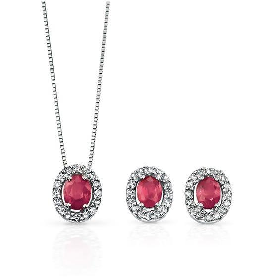 9ct White Gold Ruby & Diamond Oval Jewellery Set