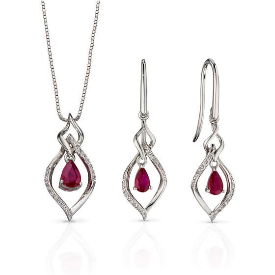 9ct White Gold Ruby & Diamond Open Marquise Jewellery Set