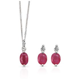 9ct White Gold Ruby & Diamond Jewellery Set