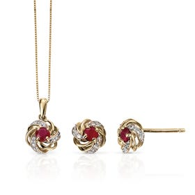 9ct Gold Ruby & Diamond Cluster Jewellery Set
