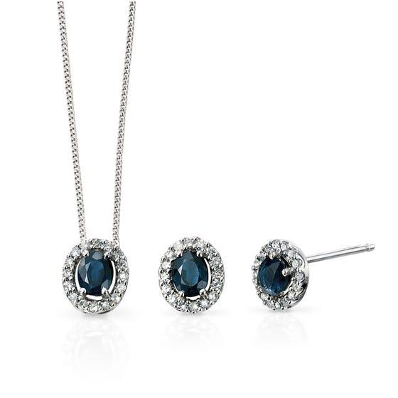 9ct White Gold Blue Sapphire & Diamond Oval Jewellery Set