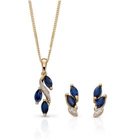 9ct Gold Sapphire & Diamond Marquise Drop Jewellery Set