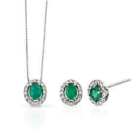9ct White Gold Emerald & Diamond Jewellery Set