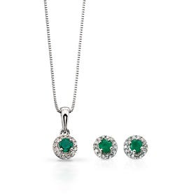 9ct White Gold Emerald & Diamond Round Jewellery Set