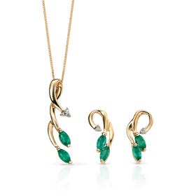 9ct Gold Emerald & Diamond Vine Jewellery Set