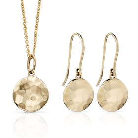 9ct Gold Hammered Finish Disc Jewellery Set