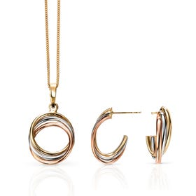 9ct Gold Tri-Colour Hoop Jewellery Set