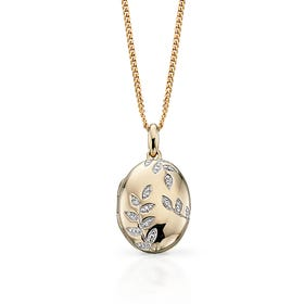 9ct Gold Oval Locket with Diamond Leaf Pattern