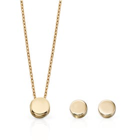 9ct Gold Circle Disc Jewellery Set
