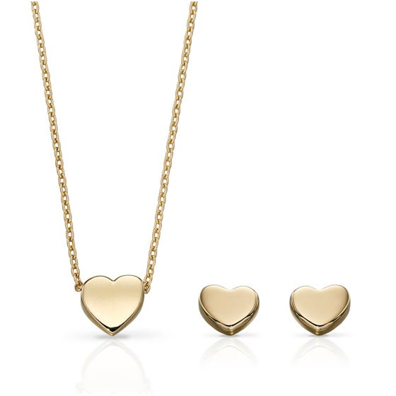 9ct Gold Heart Jewellery Set