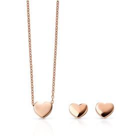 9ct Rose Gold Heart Jewellery Set