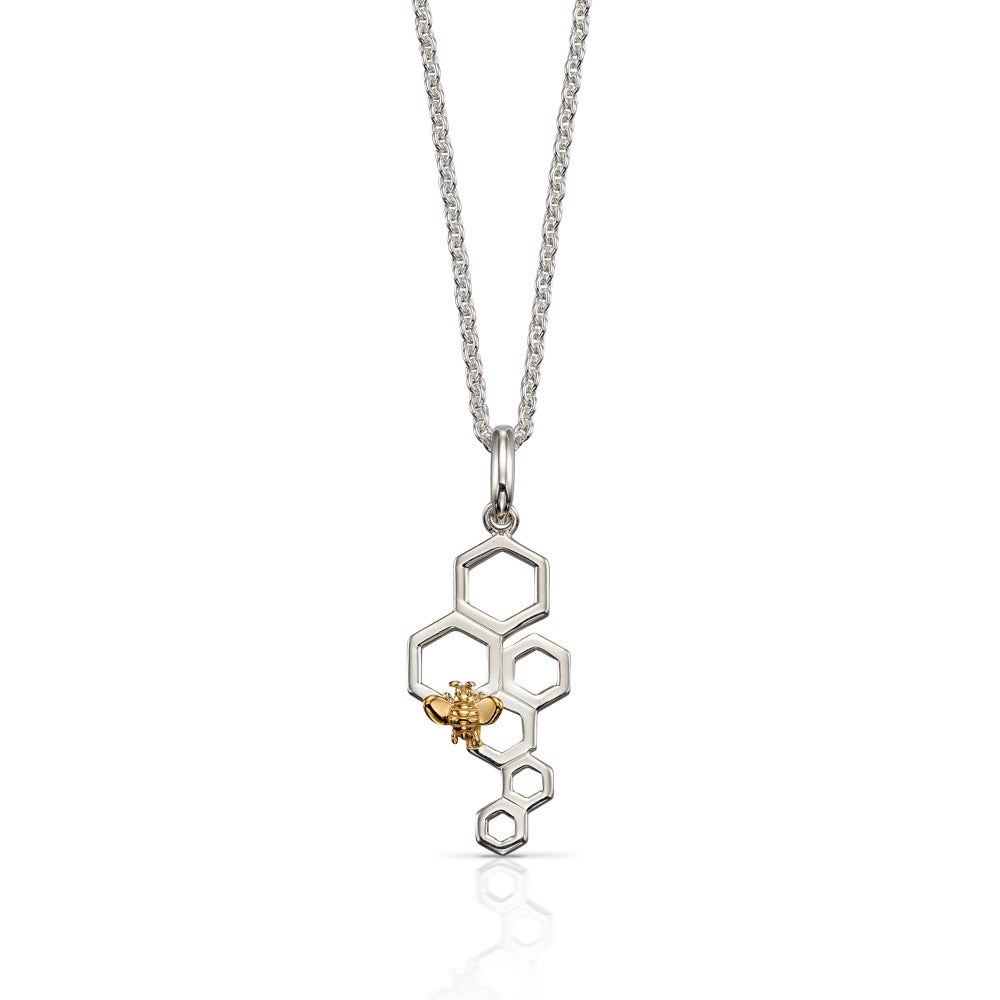 John Greed Meadow Silver Honeycomb Bee Necklace with Gold Plating