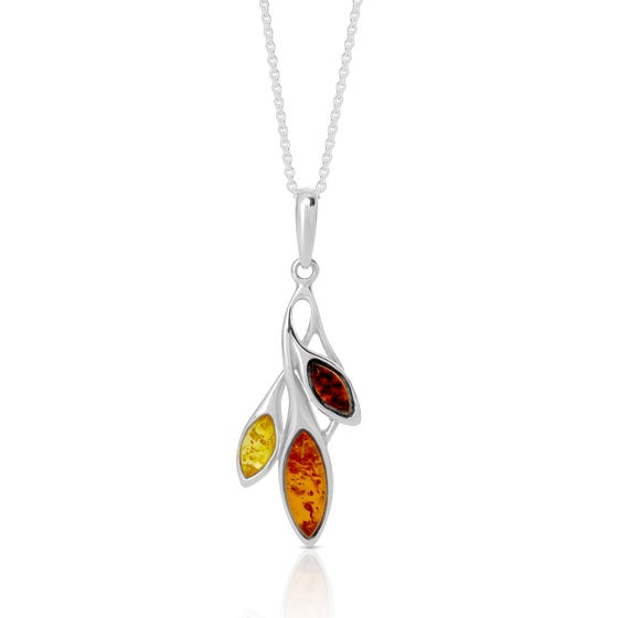 Wald Silver & Amber Autumn Leaves Necklace