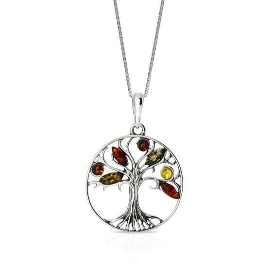 Wald Silver & Amber Tree of Life Necklace