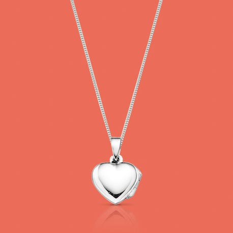 Heart Silver Locket Necklace