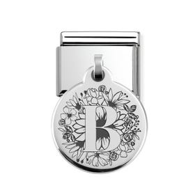 Classic Silver Floral Letter B Round Pendant Charm