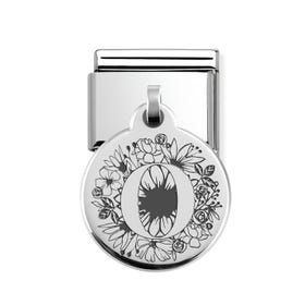 Classic Silver Floral Letter O Round Pendant Charm