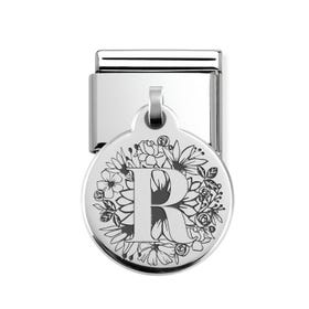Classic Silver Floral Letter R Round Pendant Charm