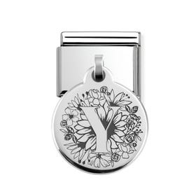 Classic Silver Floral Letter Y Round Pendant Charm