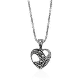 Marcasite Open Heart Silver Necklace