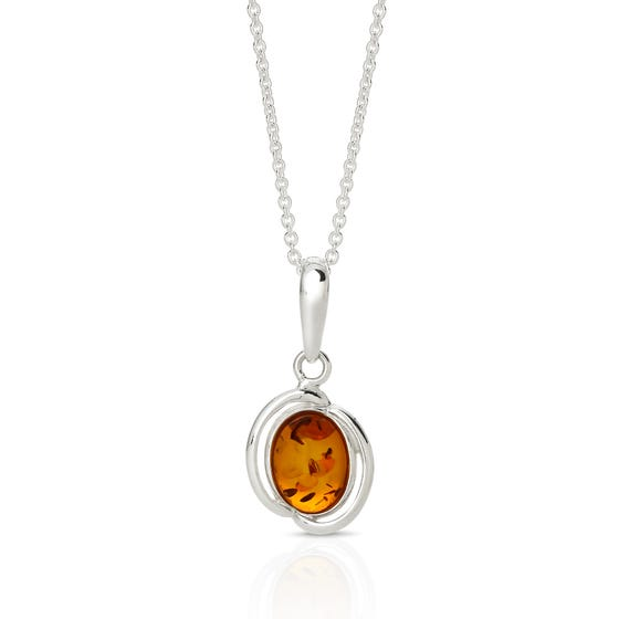 Silver Double Set Amber Necklace