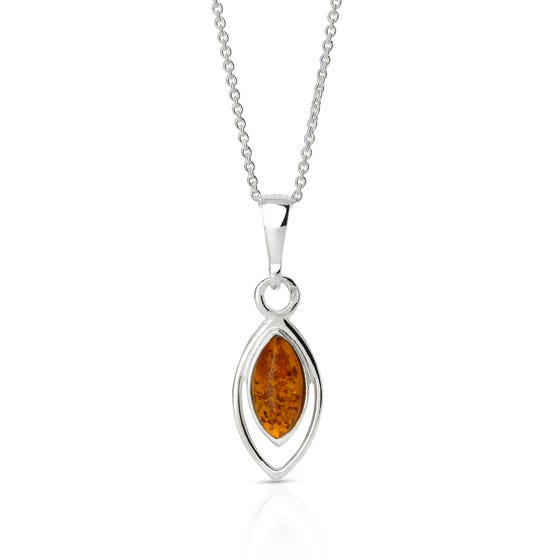 Silver Double Set Marquise Amber Necklace