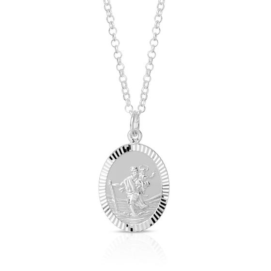 Silver Oval St Christopher Necklace
