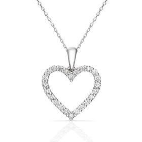 18ct White Gold 0.50ct Diamond Heart Necklace