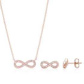 Aithre Rose Gold Plated Silver Infinity Jewellery Set