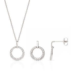 Selene Silver Circle Jewellery Set