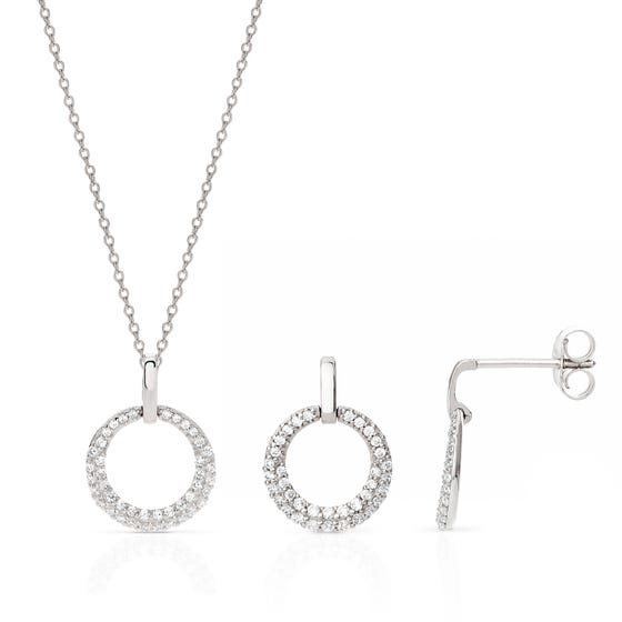 Selene Silver Circle Jewellery Set