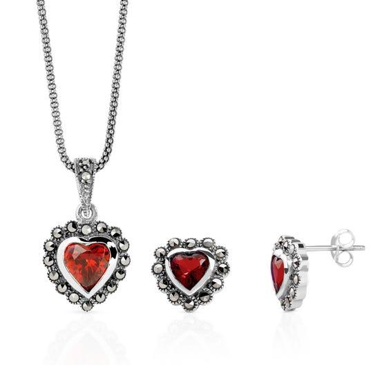 Marcasite and Garnet CZ Silver Heart Jewellery Set