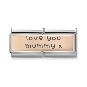 Classic Rose Gold Love You Mummy Double Charm